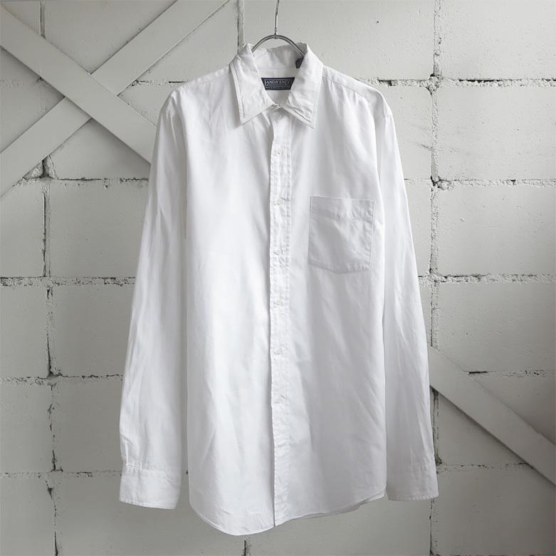 """画像1: 1990's """"LAND'S END"""" Pinpoint Oxford Shirt WHITE size M-L (1)"""
