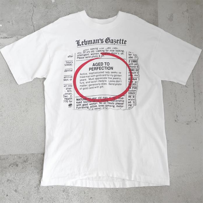 """画像1: 1990's """"Lebman's Gazette"""" Print T-Shirt WHITE size L (1)"""