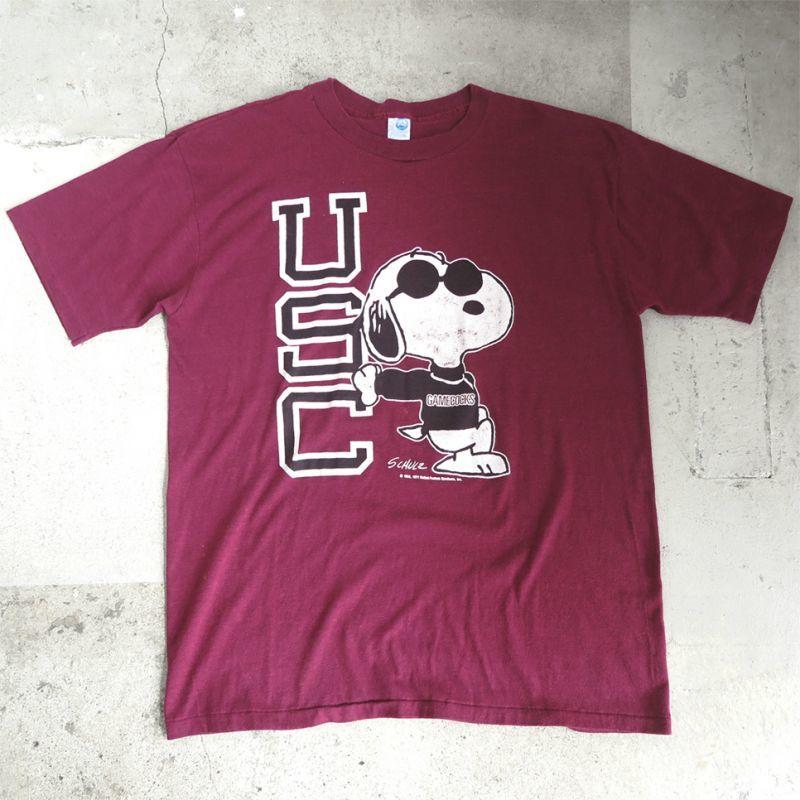 "画像1: 1990's ""Snoopy"" -USC- College  Print T-Shirt BURGUNDY size L (1)"