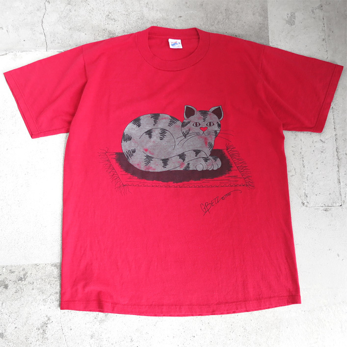 "画像1: 1990's ""CAT"" Animal  Print T-Shirt RED size M-L (1)"