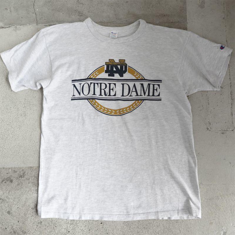 """画像1: 1980's """"Champion"""" -NOTRE DAME- College Print T-Shirt OATMEAL size M-L (1)"""