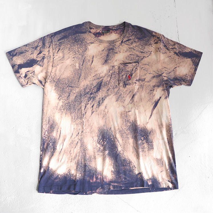 """画像1: Old """"Polo by Ralph Lauren"""" Bleached Pocket T-Shirt NAVY size XL-XXL (1)"""