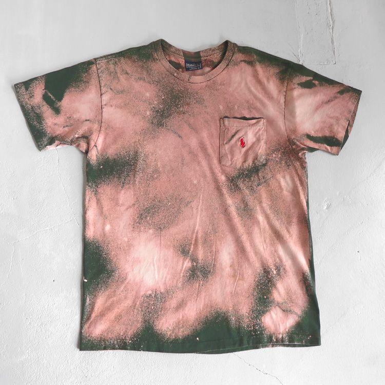 """画像1: Old """"Polo by Ralph Lauren"""" Bleached Pocket T-Shirt GREEN size M (1)"""