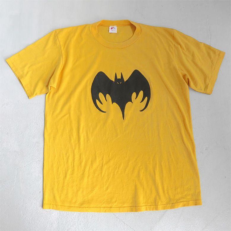 """画像1: 1980's """"BAT LOGO"""" Foam Print T-Shirt YELLOW size L (1)"""
