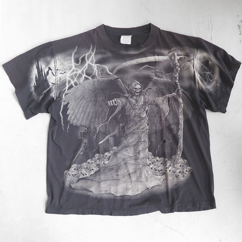 "画像1: ~1990's ""Grim Reaper"" All Over Print T-Shirt  BLACK size XXL (1)"