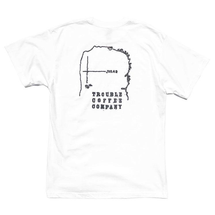 """画像1: NEW """"TROUBLE COFFEE"""" -SF MAP- Back Print Pocket T-Shirt WHITE size L, XL (1)"""